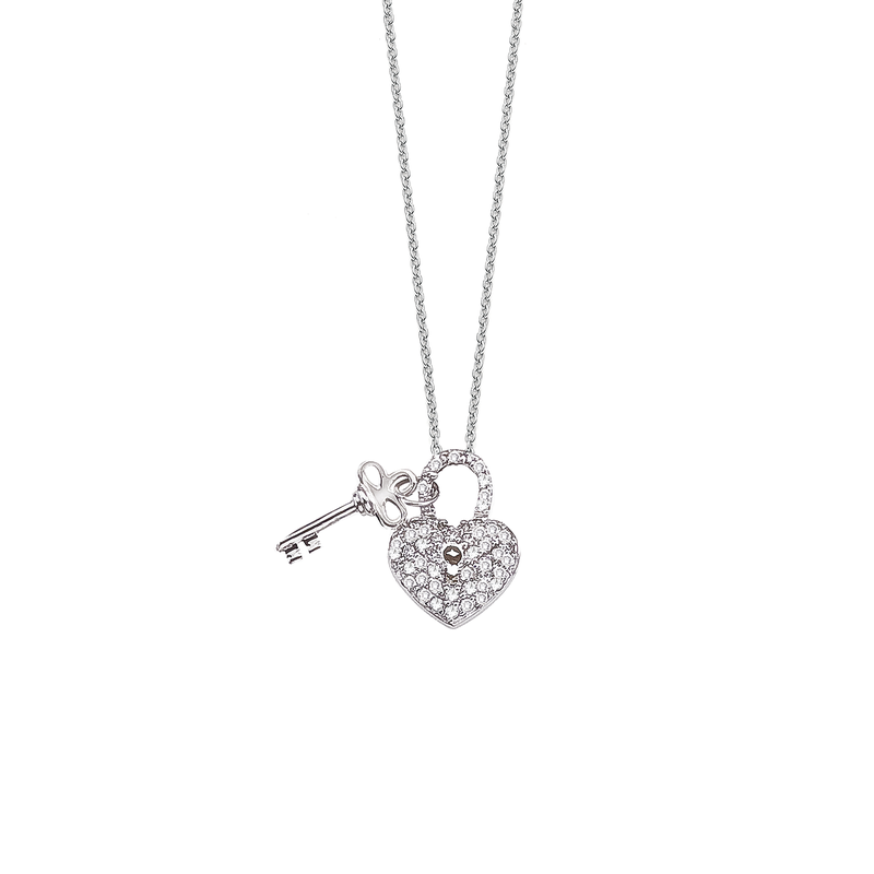 Roberto Coin 18Kt Gold Heart/Key Pendant With Diamonds