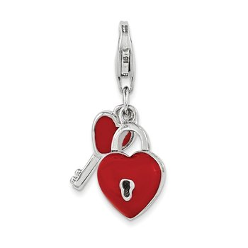 Sterling Silver Enameled 3D Heart And Key Charm