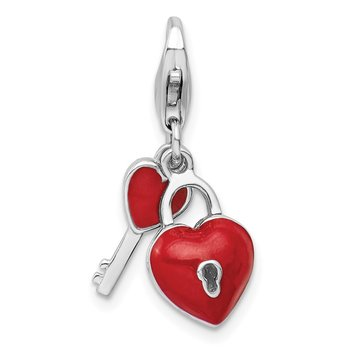 Sterling Silver Amore La Vita Rhod-pl Enameled 3D Heart And Key Charm