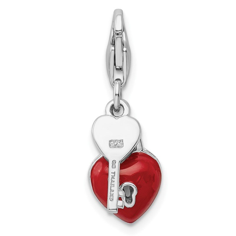 Quality Gold Sterling Silver Amore La Vita Rhod-pl Enameled 3D Heart And Key Charm