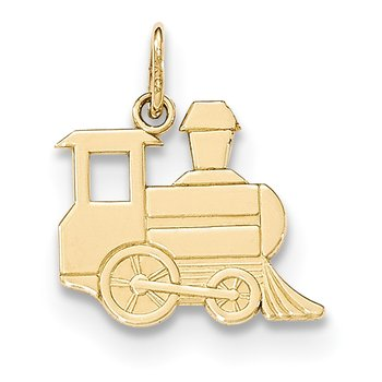 14k Gold Polished Toy Train Pendant