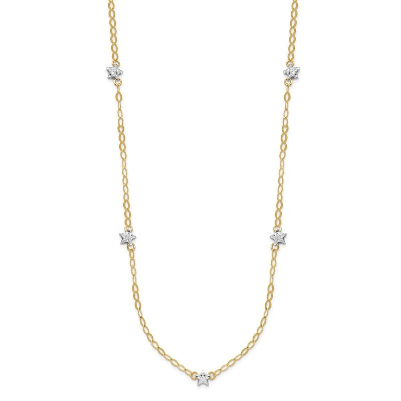 Quality Gold 14K Two-tone Oval Chain Diamond Cut Stars w/ 2in Ext Necklace