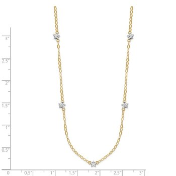 14K Two-tone Oval Chain Diamond Cut Stars w/ 2in Ext Necklace