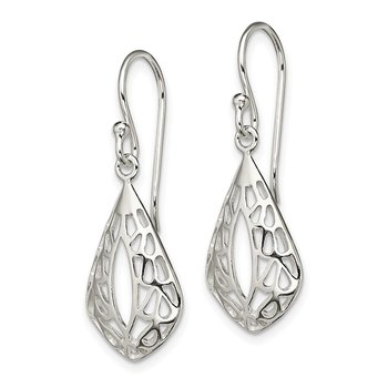Sterling Silver Filigree Teardrop Dangle Shepherd Hook Earrings