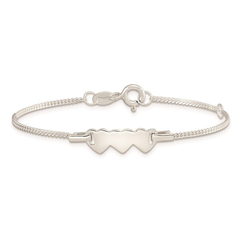 Quality Gold Sterling Silver Childrens Polished Heart 5in Plus 1in Ext ID Bracelet