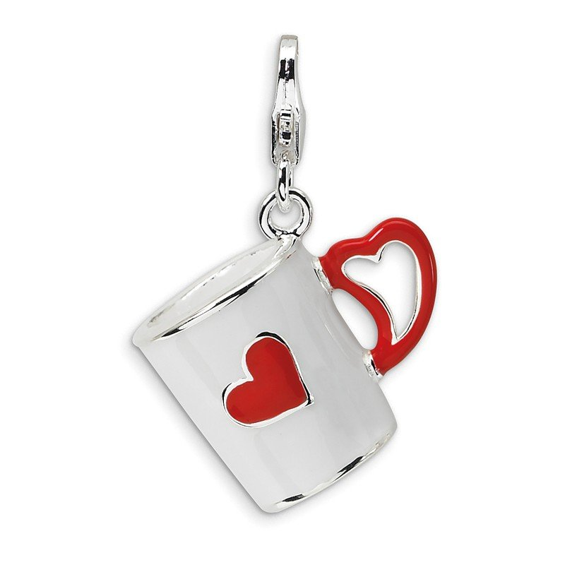 Quality Gold Sterling Silver 3-D Enameled Coffee Cup with Heart w/Lobster Clasp Charm