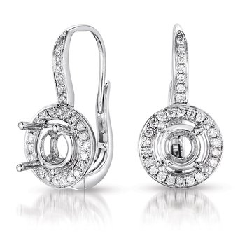 Halo Earring Setting For 1.5ct tw