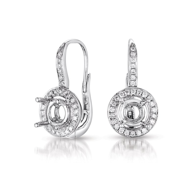 S. Kashi  & Sons Halo Earring Setting For 1.5ct tw