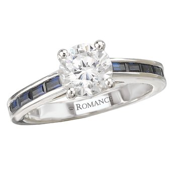 Sapphire and Diamond Semi-Mount Ring