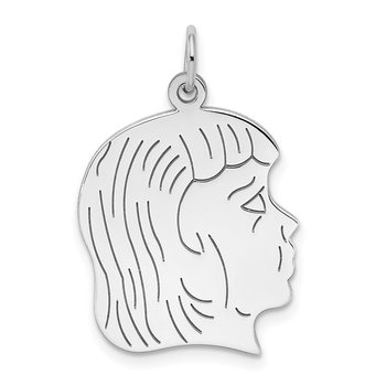 Sterling Silver Rhod-plated ENG. Girl Polished Front/Satin Back Disc Charm