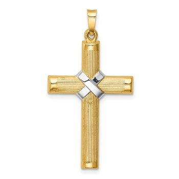 14k Hollow Polished Rhodium Center X Cross