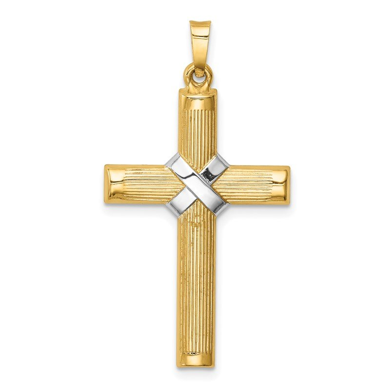 Quality Gold 14k Hollow Polished Rhodium Center X Cross