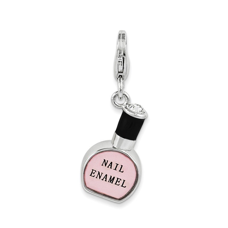 Quality Gold Sterling Silver Amore La Vita Rhod-pl Enameled Nail Polish Bottle Charm