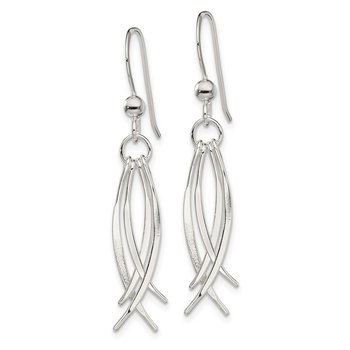 Sterling Silver Polished Curved Dangle Shepherd Hook Earrings