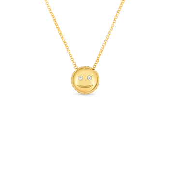 18Kt Gold Smiley Emoji Pendant With Diamonds