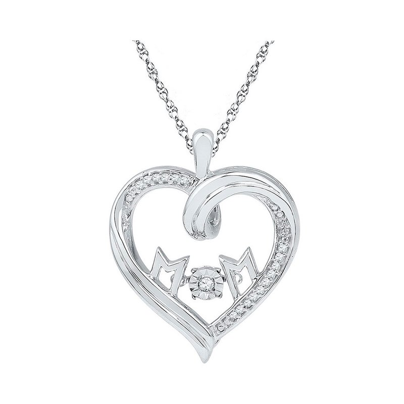 Kingdom Treasures Sterling Silver Womens Round Diamond Heart Mom Moving Twinkle Pendant 1/12 Cttw