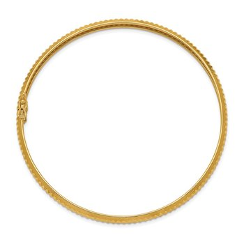 14k Yellow Gold Polished Textured Flexible Bangle