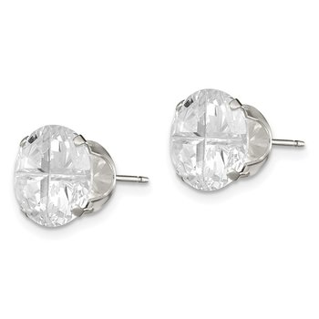 Sterling Silver 10mm Round Snap Set Cross-cut CZ Stud Earrings