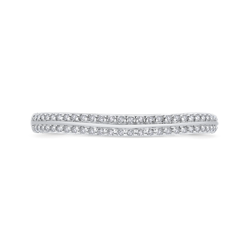 Round Diamond Half-Eternity Wedding Band In 18K Two-Tone Gold with Euro Shank
