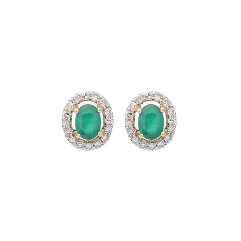 Gems One Diamond Halo and Emerald Prong Set Earrings in 10K White Gold (1/100 ct. tw.)