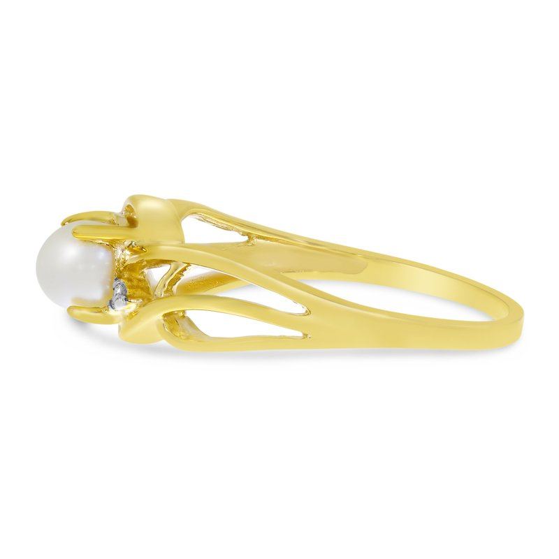 Color Merchants 10k Yellow Gold Freshwater Cultured Pearl And Diamond Curve Ring