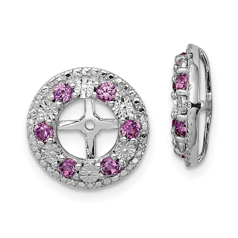 Quality Gold Sterling Silver Rhodium Created Pink Sapphire Earring Jacket