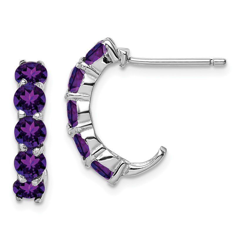 Quality Gold Sterling Silver Rhodium-plated Amethyst J-Hoop Earrings