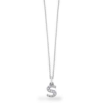 "Diamond Baby Block Initial ""S"" Necklace in 14k White Gold with 11 Diamonds weighing .09ct tw."