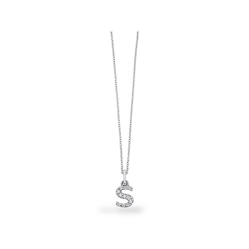 "KC Designs Diamond Baby Block Initial ""S"" Necklace in 14k White Gold with 11 Diamonds weighing .09ct tw."