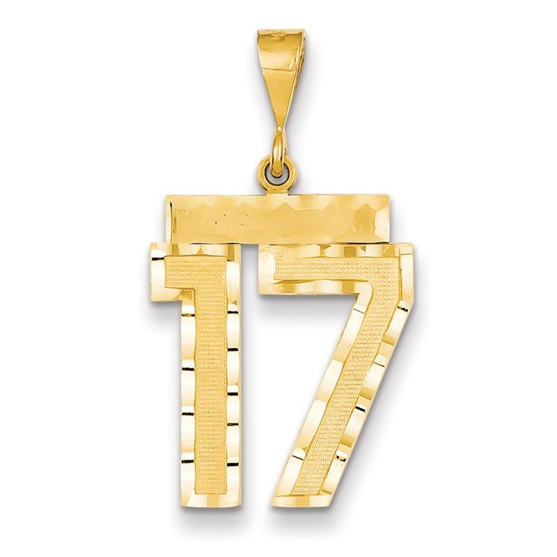 Quality Gold 14k Large Diamond-cut Number 17 Charm