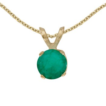 14k Yellow Gold Round Emerald Pendant