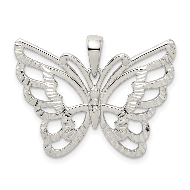 Quality Gold Sterling Silver Diamond-cut Butterfly Pendant