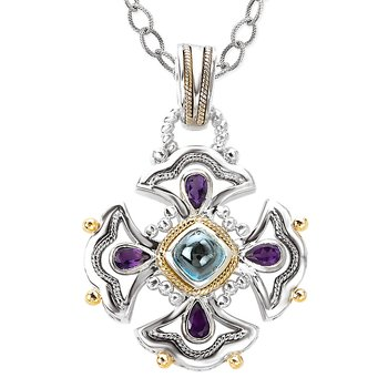 18K/SILVER WITH AMETHYST AND  LONDON BLUE TOPAZ PENDANT