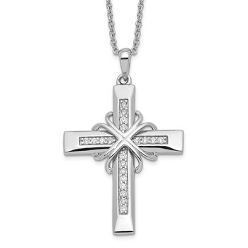 Sterling Silver CZ Steadfast Love 18in Cross Necklace