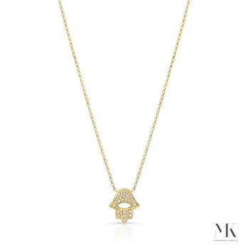 Yellow Gold Piety Pave Open Hamsa Necklace