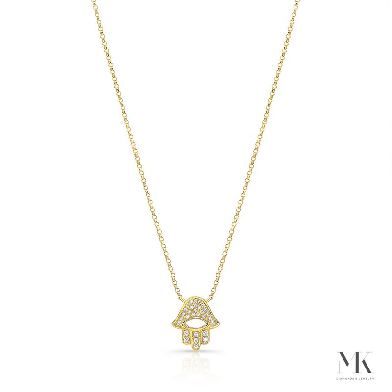 Robert Palma Designs Yellow Gold Piety Pave Open Hamsa Necklace