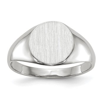 14k White Gold 9.0x9.0mm Closed Back Signet Ring