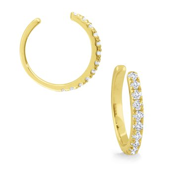 14k Gold and Diamond Single Earring Cuff