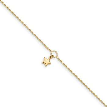 14K Polished Dangle Star 10in Plus 1in ext. Anklet