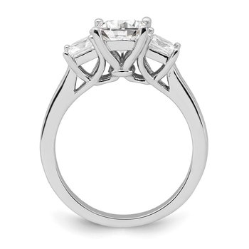 Sterling Silver Rhodium-plated & CZ 3 Stone Ring