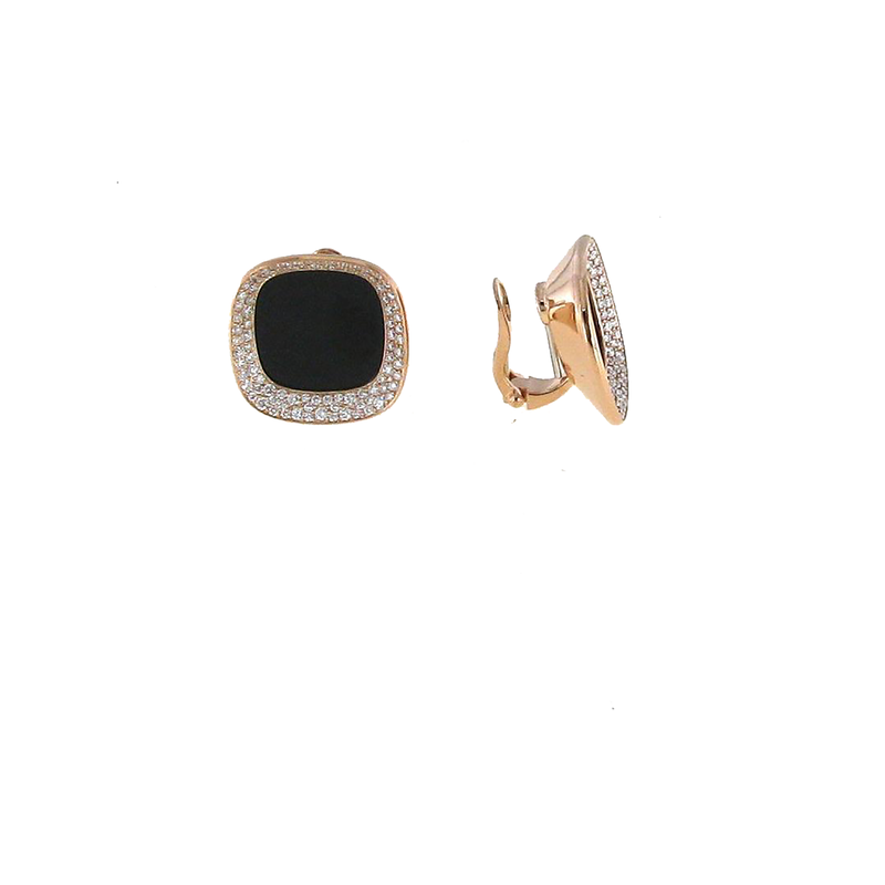 Roberto Coin 18Kt Rose Gold Earring With Diamonds And Black Jade