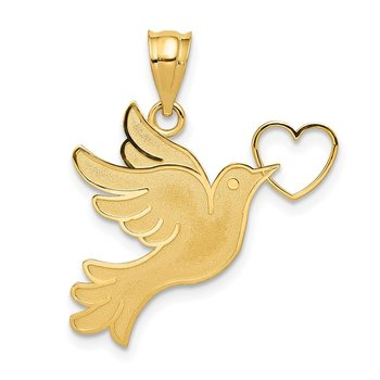14K Dove w/Heart Pendant