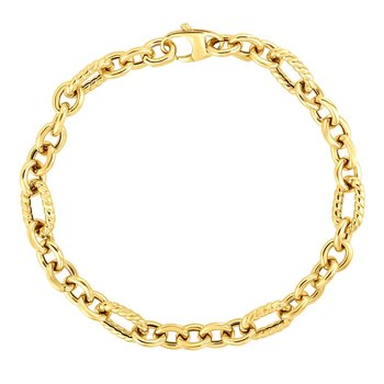 14K Gold Italian Cable Textured Oval Link Bracelet