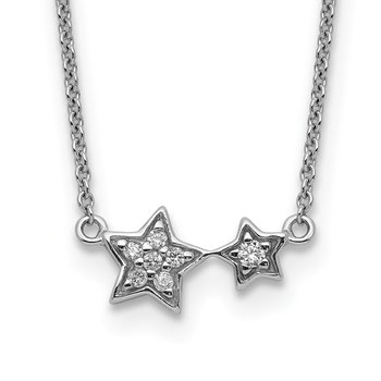 Sterling Silver Rhodium Plated CZ Star Necklace