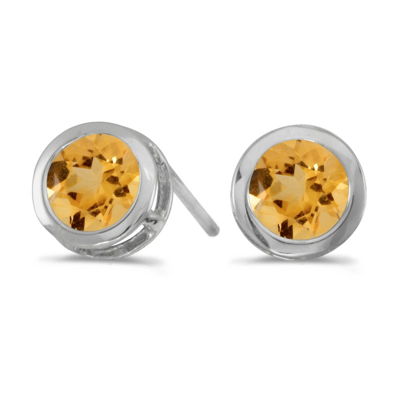 Color Merchants 14k White Gold Round Citrine Bezel Stud Earrings