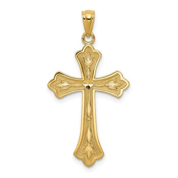 14k Diamond-cut Cross Pendant