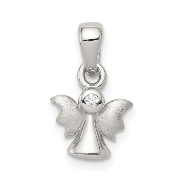 Sterling Silver Polished & Satin CZ Angel Pendant