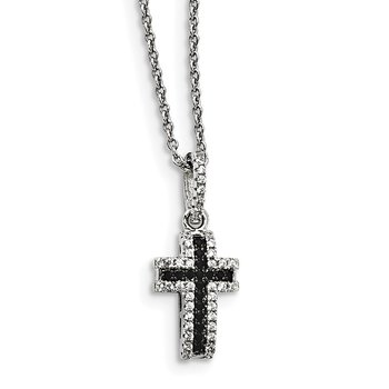 Sterling Silver & CZ Brilliant Embers Cross Necklace