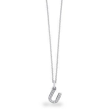 "Diamond Baby Block Initial ""U"" Necklace in 14k White Gold with 11 Diamonds weighing .09ct tw."