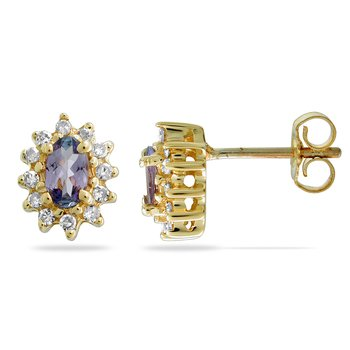 14K YG Diamond & Tanzanite All Purpose Ear-rings